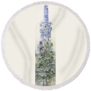 Delphiniums Round Beach Towel by James Valentine Jelley