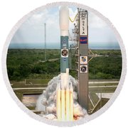 Delta II Launch With Space Telescope Round Beach Towel