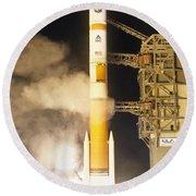 Delta Iv Rocket Taking Off Round Beach Towel