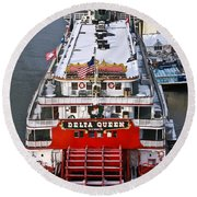 Delta Queen In Christmas Snow Round Beach Towel by Tom and Pat Cory