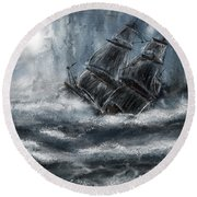 Deluged By The Wave Round Beach Towel