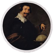 Democritus, Or The Man With A Globe Oil On Canvas Round Beach Towel