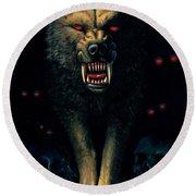 Demon Wolf Round Beach Towel