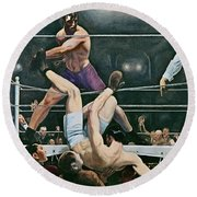 Dempsey V Firpo In New York City Round Beach Towel