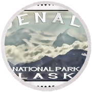 Denali Postage Stamp  Round Beach Towel