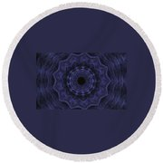 Denim Blues Mandala - Digital Painting Effect Round Beach Towel