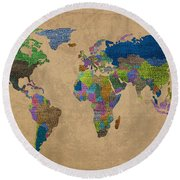 Denim Map Of The World Jeans Texture On Worn Canvas Paper Round Beach Towel