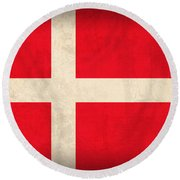 Denmark Flag Vintage Distressed Finish Round Beach Towel by Design Turnpike