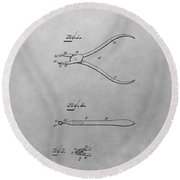 Dental Pliers Patent Drawing Round Beach Towel