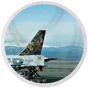 Denver Airport With Rockies In Background Round Beach Towel