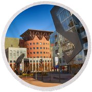 Denver Art Museum Courtyard Round Beach Towel