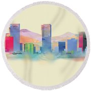 Denver Colorado Skyline I Round Beach Towel