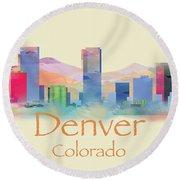 Denver Colorado Skyline II Round Beach Towel