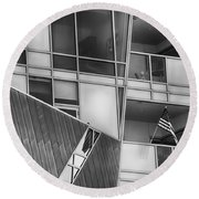 Denver Diagonal Lines Bw Round Beach Towel