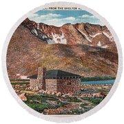 Denver Mountain Parks Antique Post Cards Round Beach Towel
