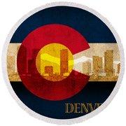 Denver Skyline Silhouette Of Colorado State Flag Canvas Round Beach Towel