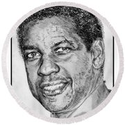 Denzel Washington In 2009 Round Beach Towel by J McCombie