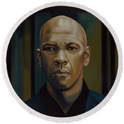 Denzel Washington In The Equalizer Painting Round Beach Towel