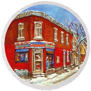 Depanneur Surplus De Pain Point St Charles Montreal Winterscene Paintings Cspandau Originals Prints  Round Beach Towel