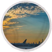 Departing From Ewr  Round Beach Towel