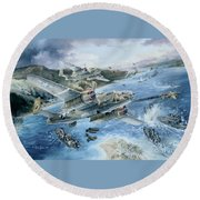 Derailing The Tokyo Express Round Beach Towel by Randy Green