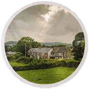 Derbyshire Cottages Round Beach Towel by Amanda Elwell
