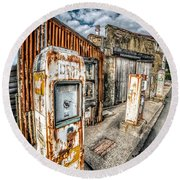 Derelict Gas Station Round Beach Towel by Adrian Evans