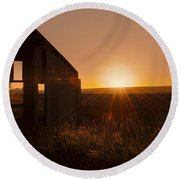 Derelict Shed Round Beach Towel by Svetlana Sewell