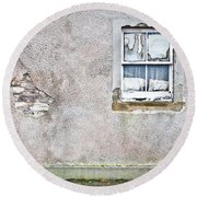 Derelict Window Round Beach Towel