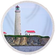Des-rosiers Lighthouse Is Canada's Tallest In Forillon Np-qc Round Beach Towel