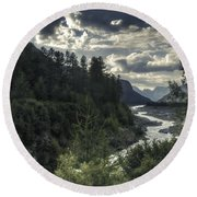 Desaturated Mountainscape Round Beach Towel