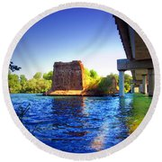 Deschutes Bridge  Anderson Ca  Watercolor   Round Beach Towel