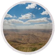 Desert Landscape By The Tannur Dam Round Beach Towel
