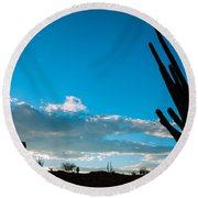 Desert Landscape Silhouette Round Beach Towel