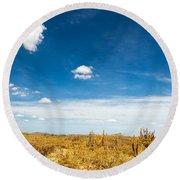 Desert Landscape With Deep Blue Sky Round Beach Towel