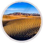 Desert Lines Round Beach Towel by Chad Dutson