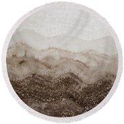 Desert Mountain Mist Original Painting Round Beach Towel