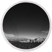 Desert Mountains Black And White Landscape Round Beach Towel