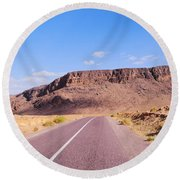 Desert Road In Morocco Round Beach Towel