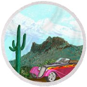 Desert Roadster 34 Ford Round Beach Towel