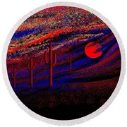 Desert Sunset Round Beach Towel