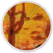 Desert Sunset Photo Art 04 Round Beach Towel
