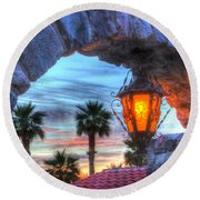 Desert Sunset View Round Beach Towel