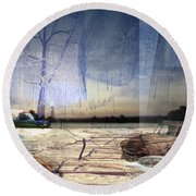 Desert Tracks Round Beach Towel