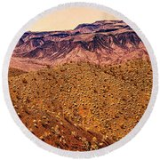 Desert View In Arizona By The Colorado River Round Beach Towel