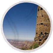 Desert View Watchtower Grand Canyon National Park Arizona Round Beach Towel