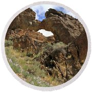 Desert Wildflowers Grand Arch  Round Beach Towel