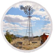 Desert Windmill Round Beach Towel