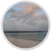Deserted Aruba Beach Round Beach Towel