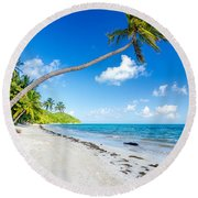 Deserted Beach And Palm Trees Round Beach Towel